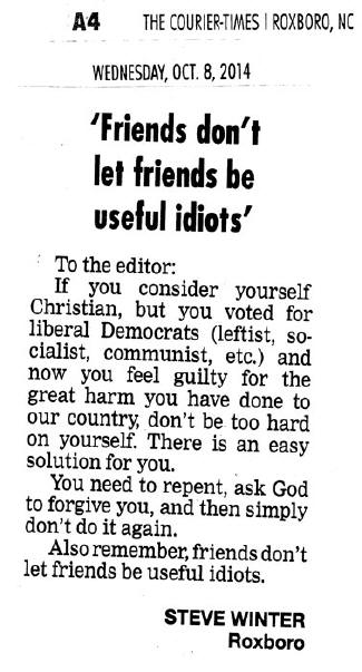 Letter to the editor by Bro. Steve Winter